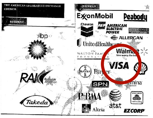 ALEC brochure lists VISA as a major underwriter