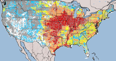 Atrazine concentration in the U.S. water supply (Source: U.S. Geological Survey)