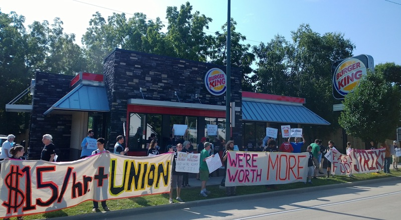 Workers in Madison, WI rally outside Burger King, demanding fair wages (photo by Alex Oberley)
