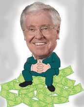 Charles Koch sits on a pile of money