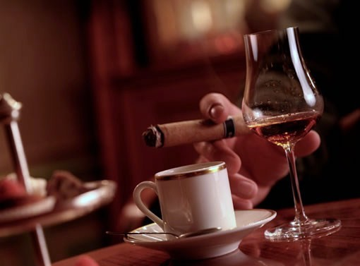 Cigar and wine