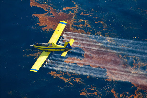 Airplane spraying dispersant on the Gulf