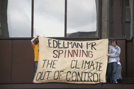 Protesters outside Edelman's London office