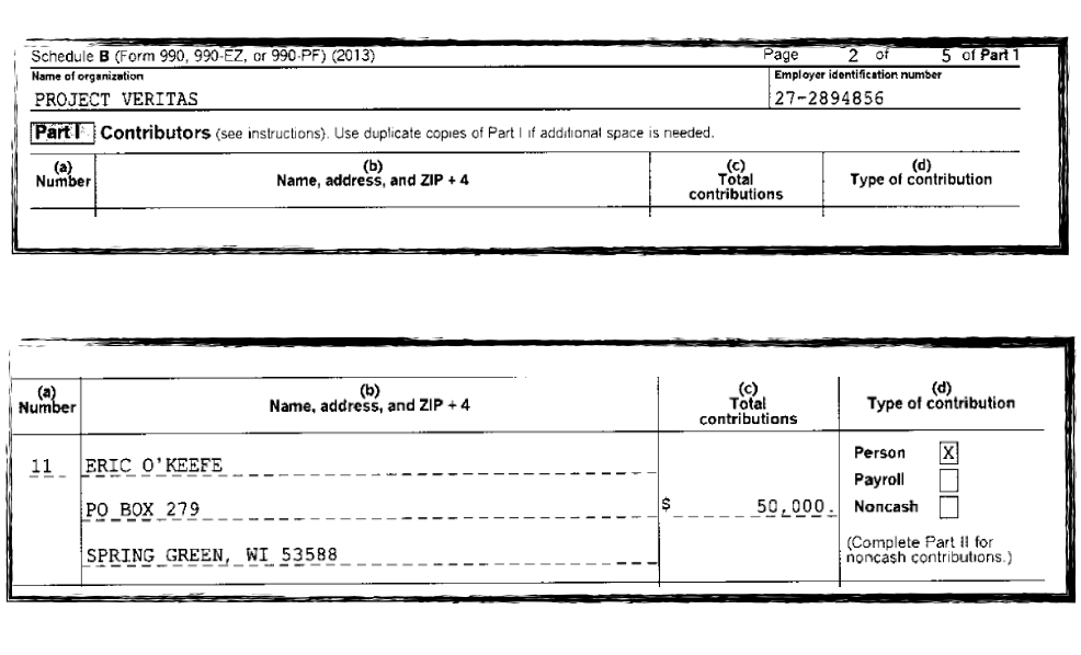Eric O'Keefe gave James O'Keefe $50K in 2013