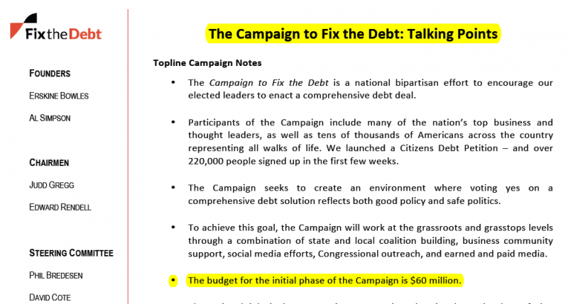 The Campaign to Fix the Debt: Talking Points