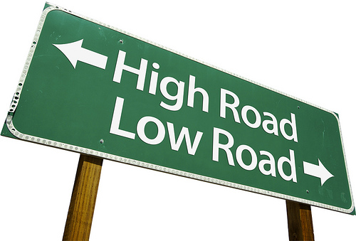 High Road, Low Road sign