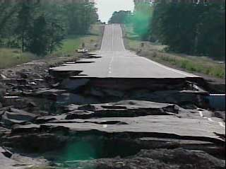 A damaged highway in Wisconsin
