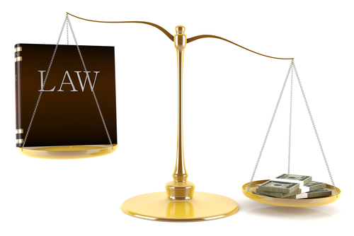 Justice scale imbalanced by money
