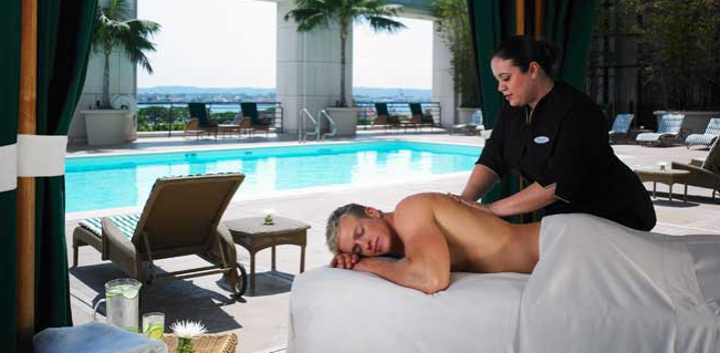 Getting a massage at the Manchester Grand Hyatt, San Diego