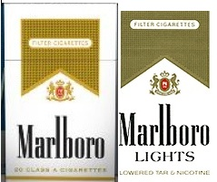 New (left) and old (right) packages of Marlboro Lights