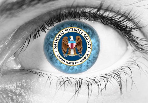 NSA logo in the iris of a blue eye