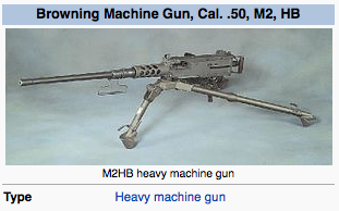 One of the Browning machine guns