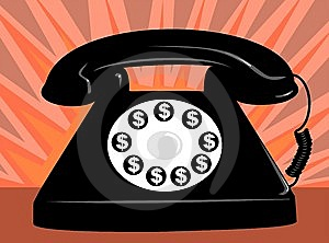 clipart of phone with dollar signs dial