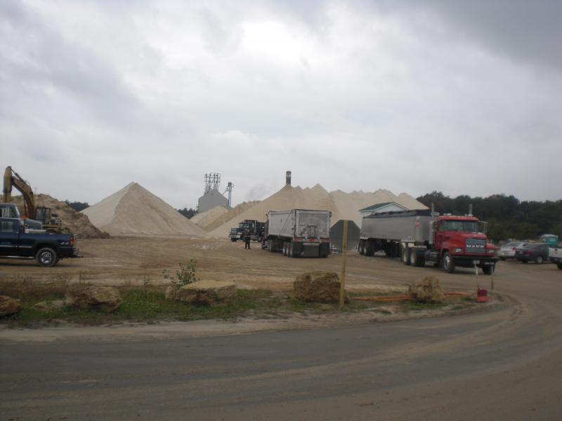 Sand washing site located across the street from a residential lot
