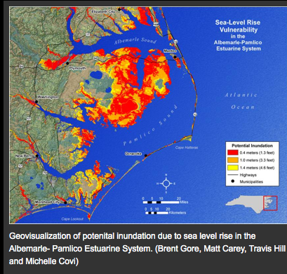 Potential harm from sea level rise in North Carolina