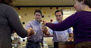Mitt Romney and Paul Ryan giving out sandwiches